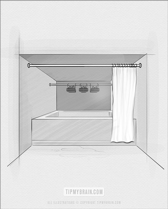 extra tension rod for bathrooms