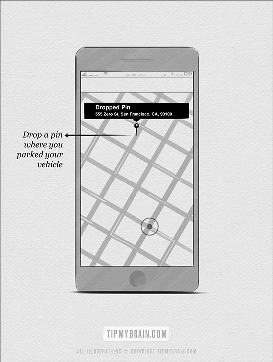 parking - drop pin on your smart phones map