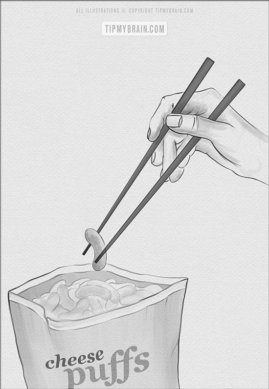 use chopsticks to eat puffs